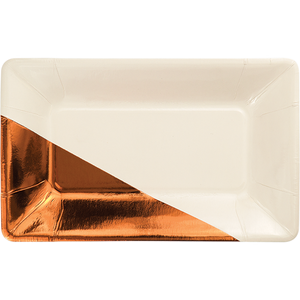 ivory rectangular plate with metallic copper foil corner