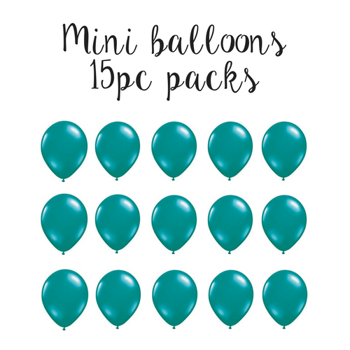 "15 pc pack of 5"" mini solid teal latex balloons"