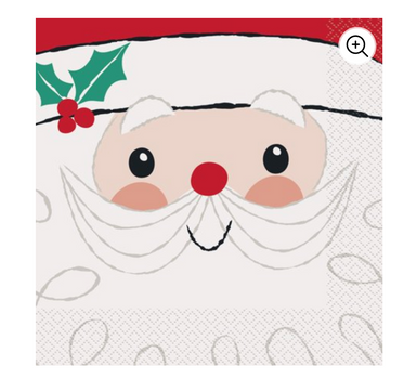 Red and white jolly Santa holiday napkins
