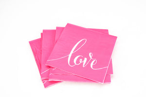 Pink Napkin with Love Script in White font