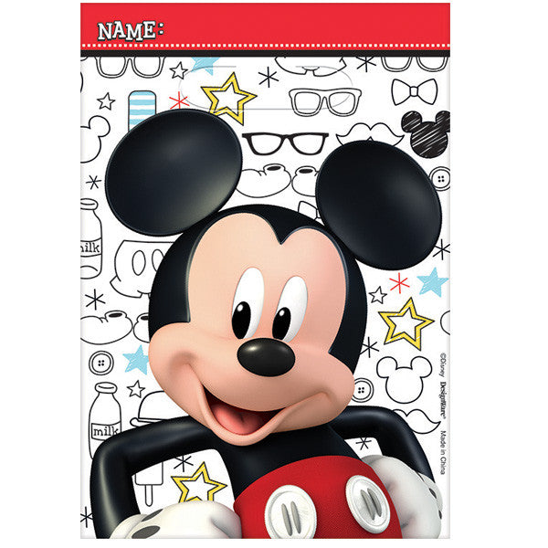 plastic favor bag featuring Mickey smiling across the bag and a background of fun playful mickey items