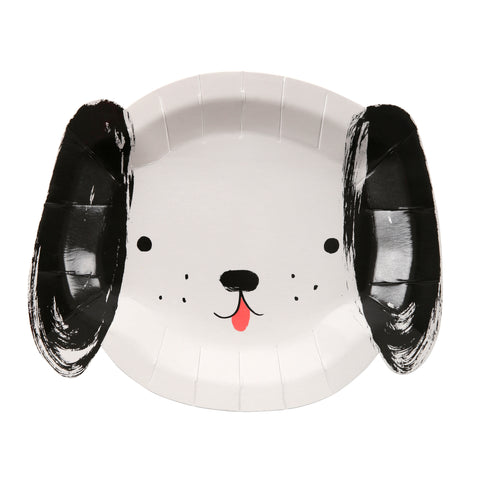 Black & White Puppy Plates