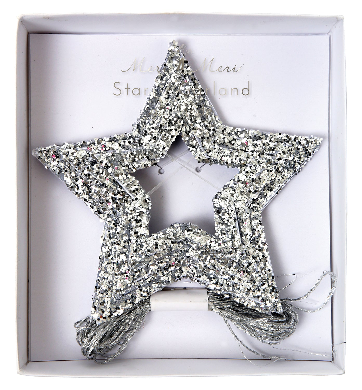 Star cut out garland with 3 varying star sizes in chunky silver metallic glitter