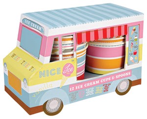 ice cream truck in a variety of colors with ice cream bowls and spoons inside