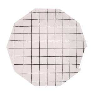 White plate with Silver grid pattern