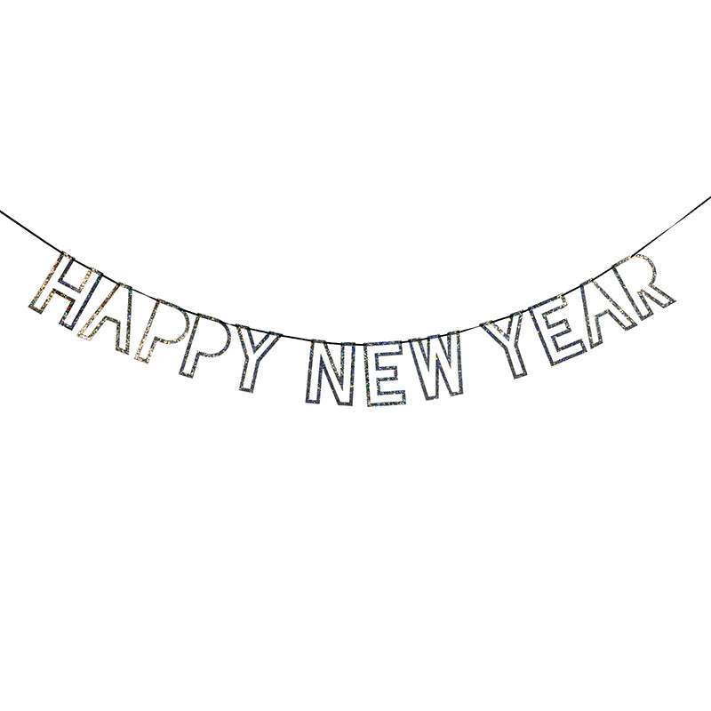 Happy New Year garland in silver sparkle letters  on black ribbon | party supplies  | sprinkles and confetti