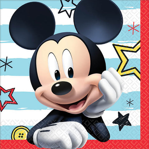 mickey mouse fun birthday beverage napkin - large mickey face on napkin with blue & white stripe background and iconic red border
