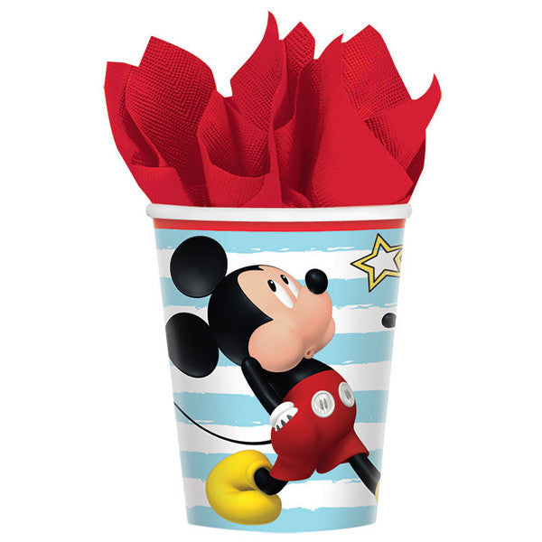 mickey mouse fun birthday cups - large mickey on cup with blue and white stripes and iconric red border