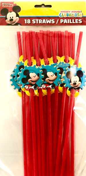 red straw featuring smiling mickey mouse decorations - mickey mouse birthday party supplies