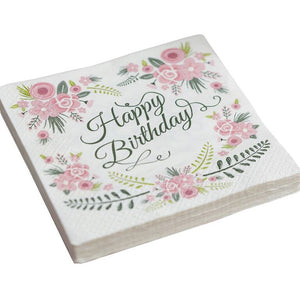 Beautiful floral happy birthday napkin
