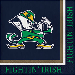 Fighting Irish College mascot napkin on Navy backgorund