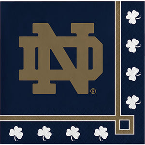 University of Notre Dame Logo beverage napkin on navy background