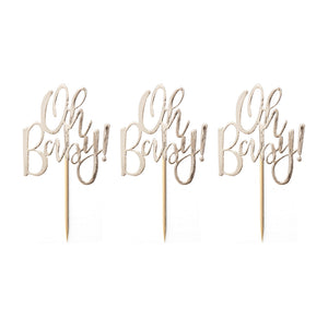 gold cupcake topper: oh baby!