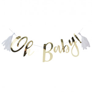 GOLD OH BABY! BABY SHOWER BANNER