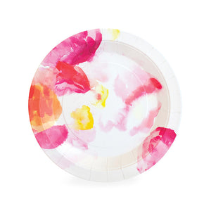 Beautiful watercolor floral dessert plate in shades of pink with a slight pop of yellow and orange