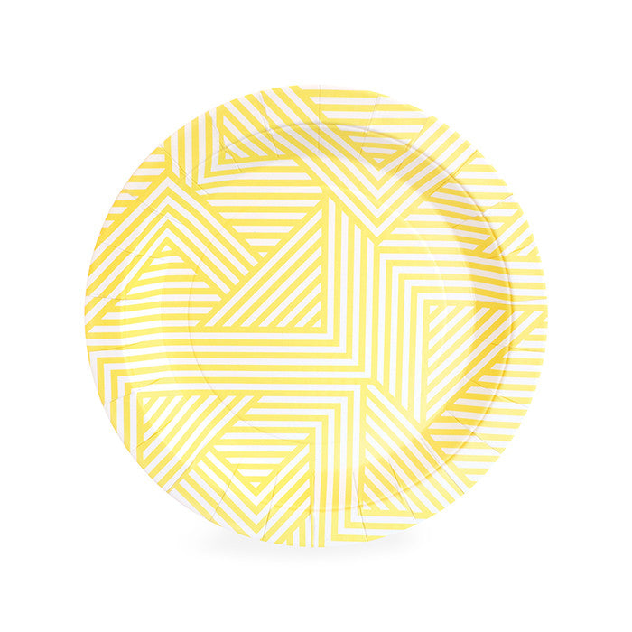 paper eskimo yellow and white patterned dessert plate perfect for a birthday, baby shower, or bridal shower