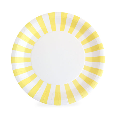 white plate with yellow and white stripe border | party supplies | paper plates