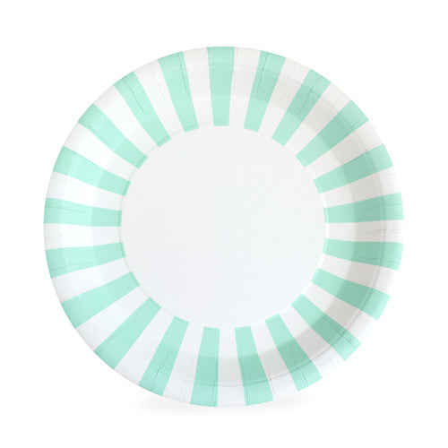 Paper Eskimo white dinner plate with mint and white stripe border