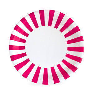 White Paper Eskimo dinner plate with bright pink and white stripes around the border