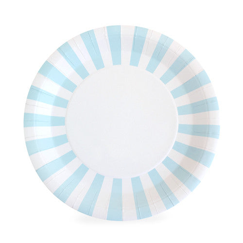 White Paper Eskimo dinner plate with light blue and white stripes around the border