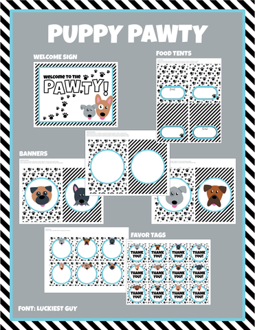 Puppy Pawty DIGITAL DOWNLOAD Package - Editable Text (Aqua)