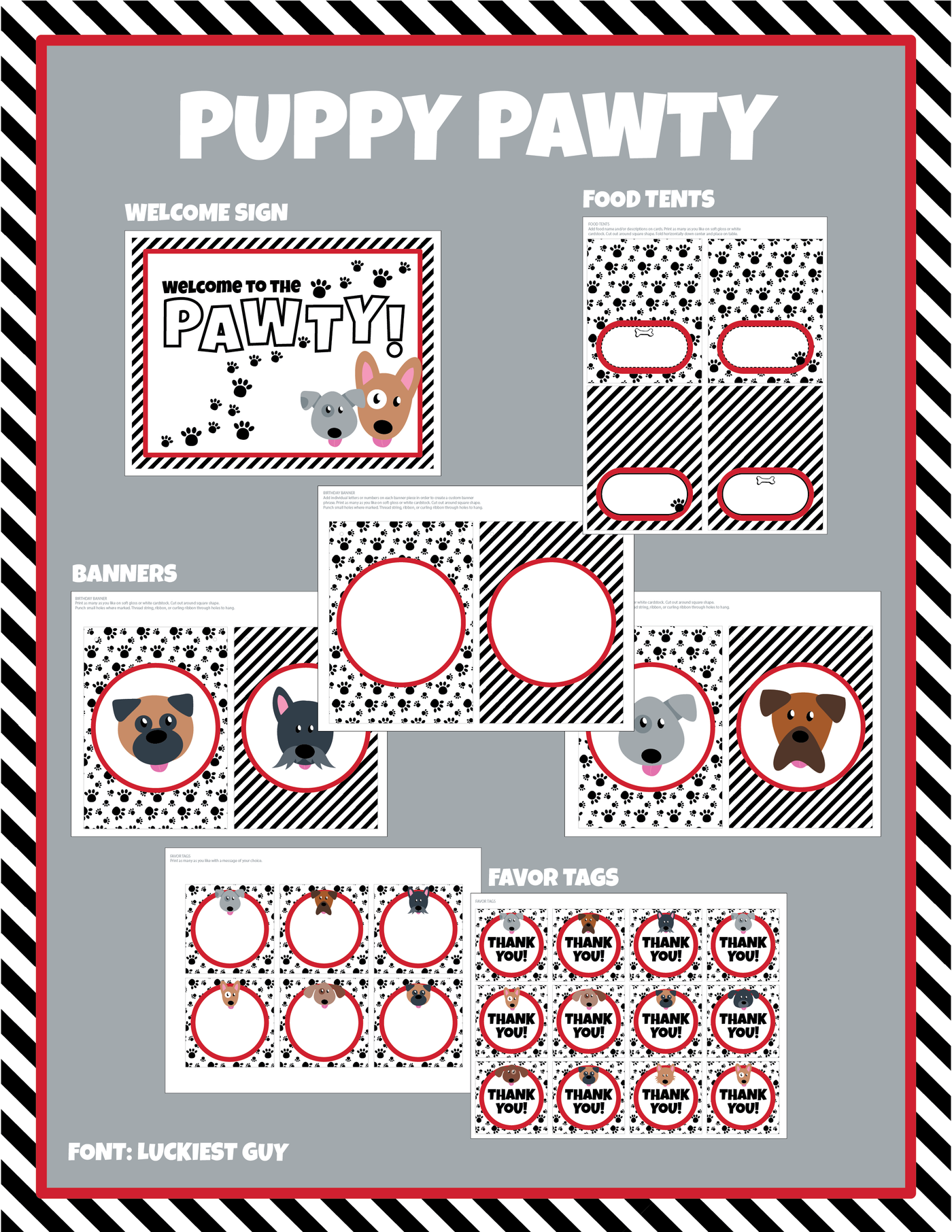 picture regarding Thank You Banner Printable identified as Pet Pawty Electronic Down load Deal - Editable Terms (Crimson)