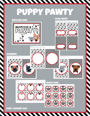 Puppy Party editable printable package includes banner, welcome sign, thank you / favor cards all editable and customizable with your text