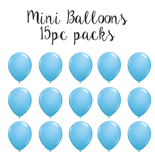 "15 pc pack of 5"" mini baby blue latex balloons"