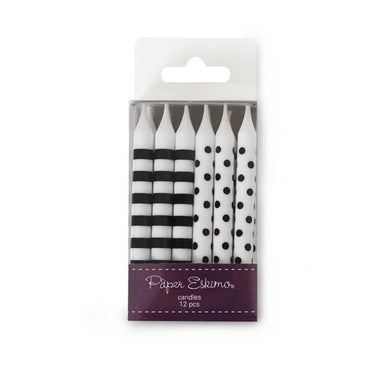 12 pack candle.  All candles have white base 6 have black stripes and 6 have black polka dots