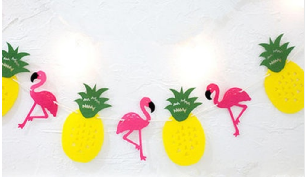 pink flamingo and yellow pineapple banner