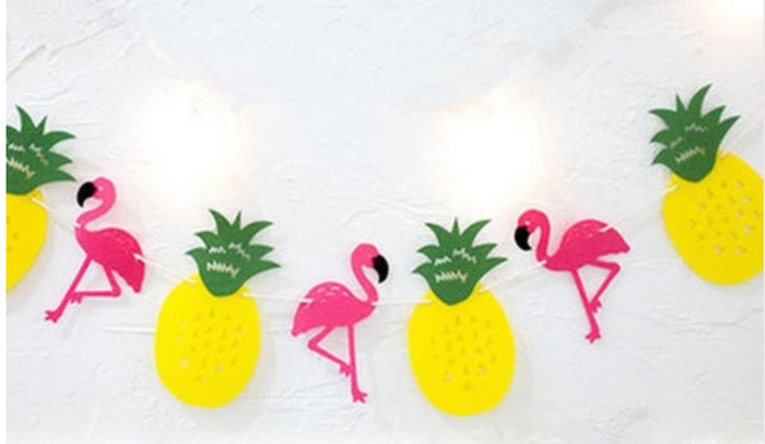 Flamingo Pineapple Tropical Banner
