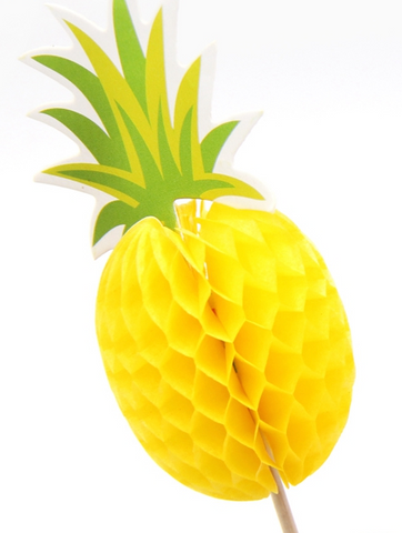 yellow honeycomb pineapple food pick with green topper - summer party supplies