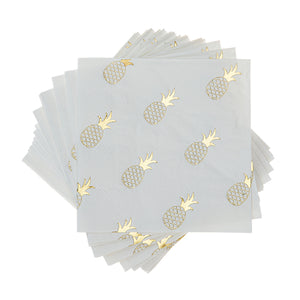 gold foil pineapple beverage napkins