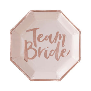 Team Bride Rose Gold Plates