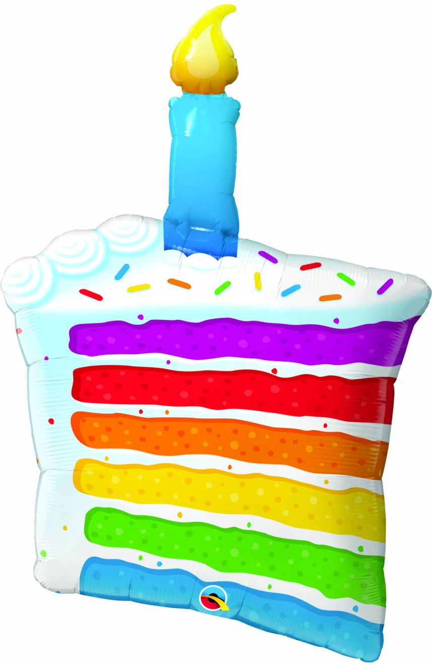 Rainbow cake slice with blue, green, yellow, orange, red, and purple stripes of cake, candle on top