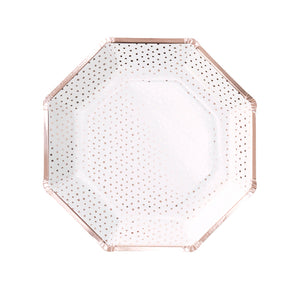 white with rose gold dots party plates, hexagon plates
