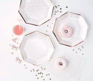 use environment white with rose gold dots party plates, hexagon plates