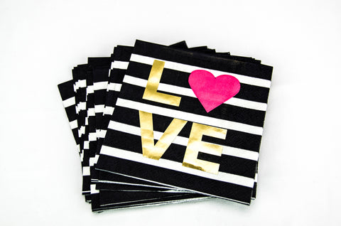 Black and White Stripe Cocktail Napkin with Metallic Gold Foil LOVE