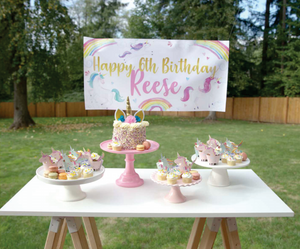 Rainbow and Unicorn Party Banner