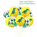 yellow and green dinosaur and confetti party balloons