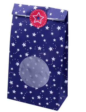 patriotic navy with white start party favor bags