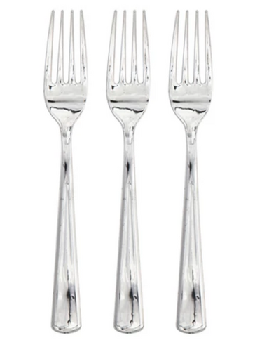silver disposable party forks