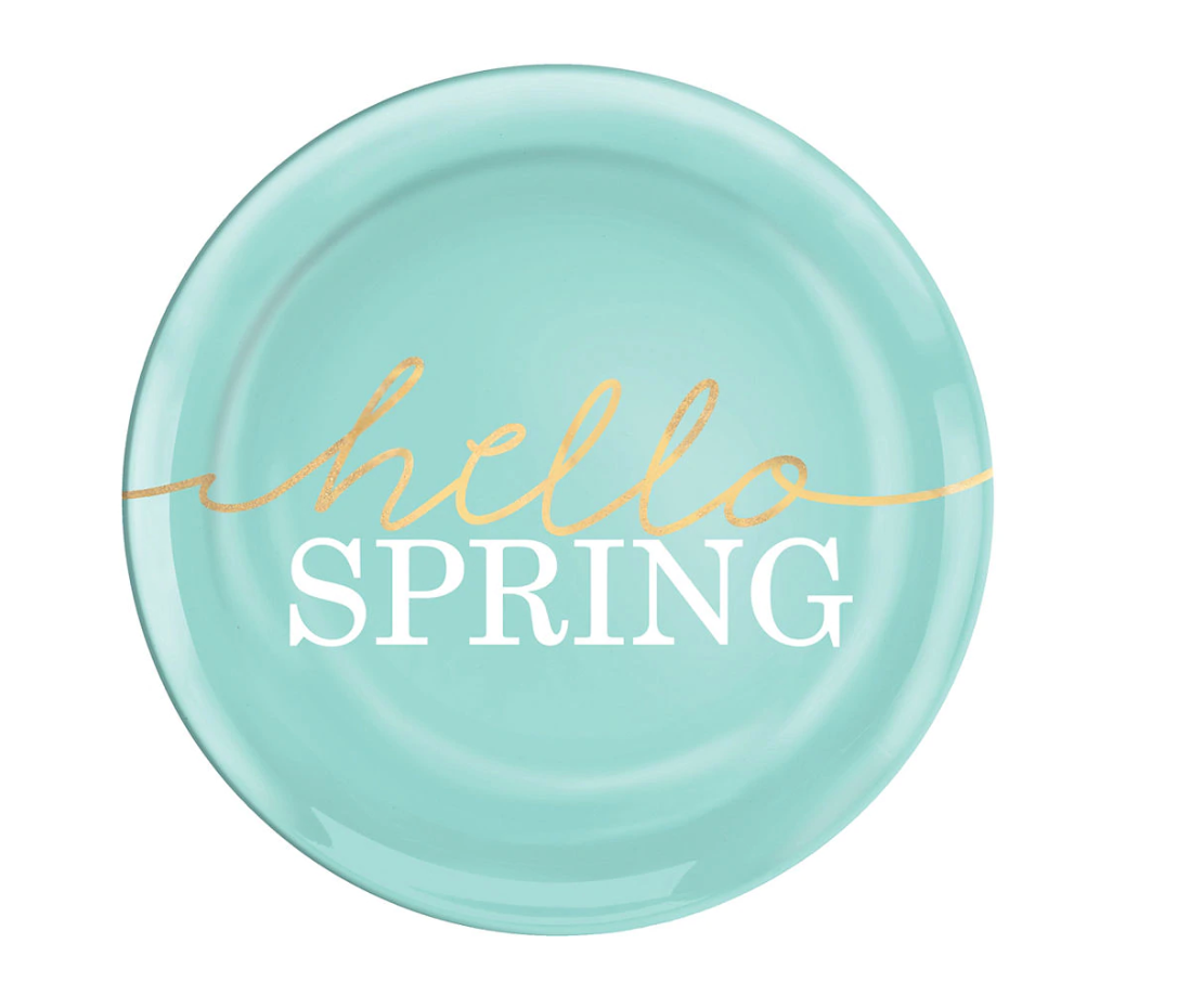 light blue Hello Spring Plastic Plates