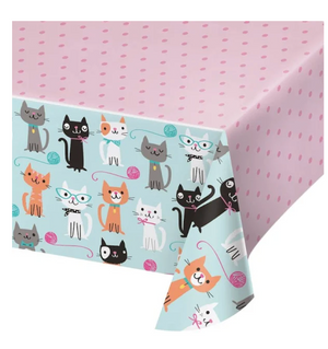 Cat Lover party tablecloth features a pink dot print and border of multiple playful cat designs