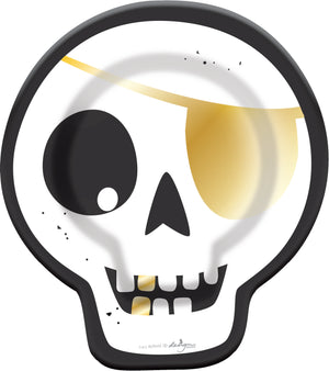 Black and Gold HALLOWEEN PARTY SKULL PLATE