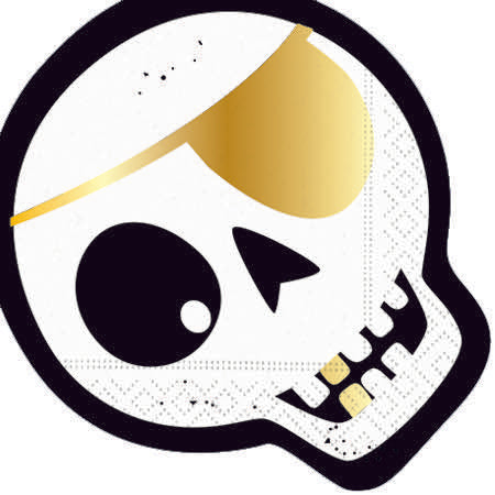 Black and White Silly skull halloween napkin with gold eye patch