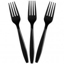 black disposable party fork