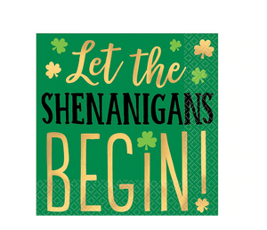 St. Patricks day shamrock let the shenanigans begin beverage napkin