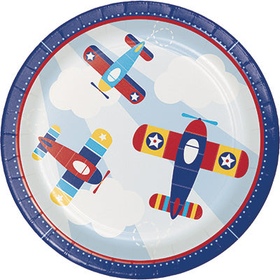 red and blue baby shower or birthday party fun Time Flies Plates