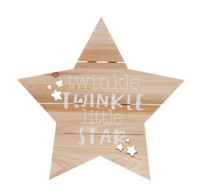 brown wooden twinkle twinkle start sign decor